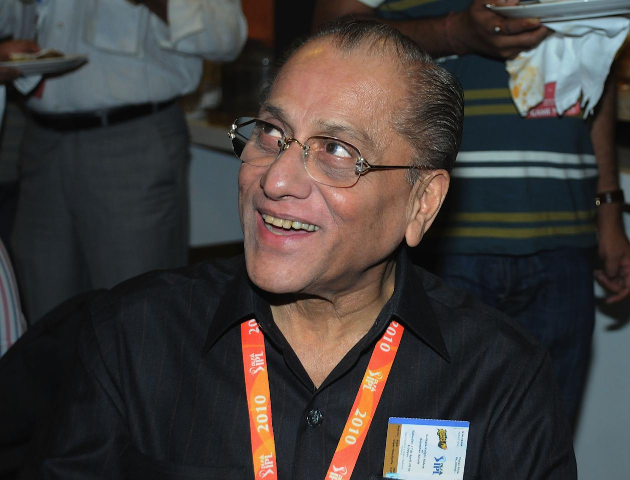 KOLKATA, INDIA - APRIL 17: Jagmohan Dalmiya attends the 2010 DLF Indian Premier League T20 group stage match between Kolkata Knight Riders and Rajasthan Royals played at Eden Gardens on April 17, 2010 in Kolkata, India.  (Photo by Yogen Shah-IPL 2010/IPL via Getty Images)