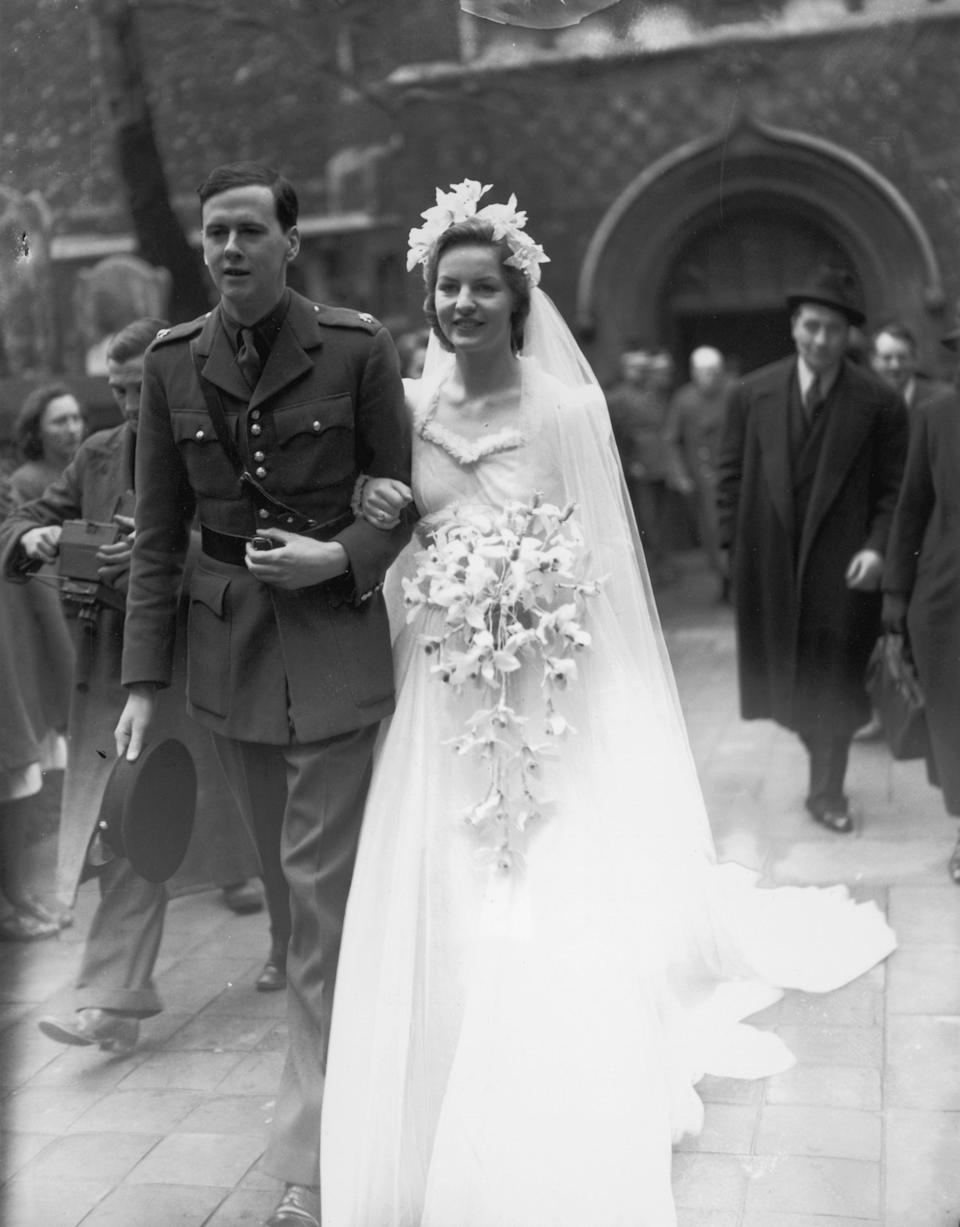 Debo becomes a duchess - pictured on her wedding dayGetty Images