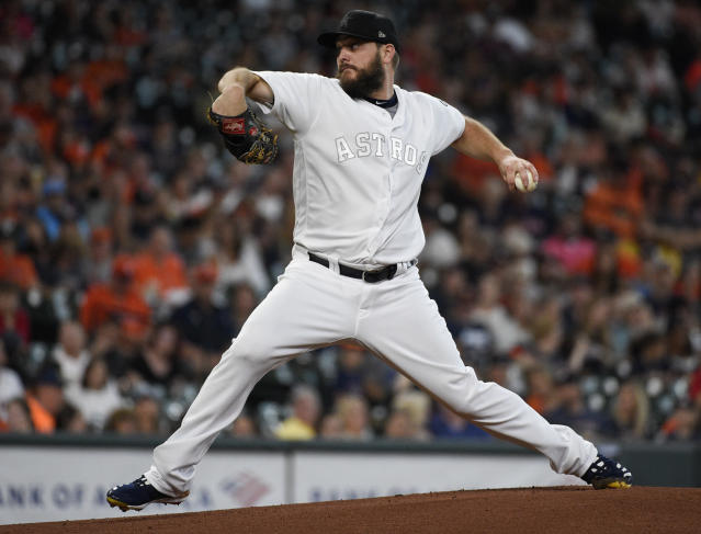 Houston Astros starting pitcher Wade Miley delivers during the first inning of a baseball game against the Los Angeles Angels, Saturday, Aug. 24, 2019, in Houston. (AP Photo/Eric Christian Smith)