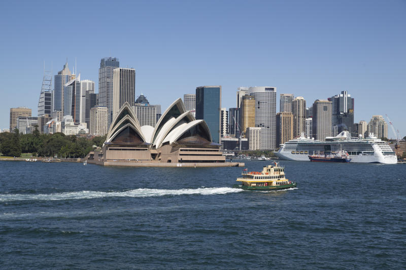 A view of the city skyline from Kirribilli at Sydney Harbour.