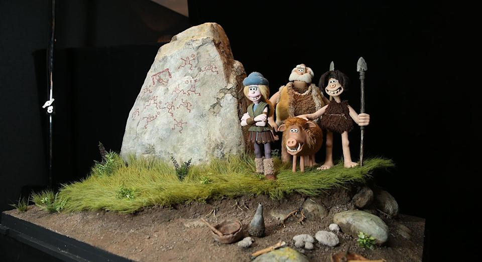 Models of Goona, Chief Bobnar (Timothy Spall), Dug, and Hognob were on display at the preview. (Studiocanal)