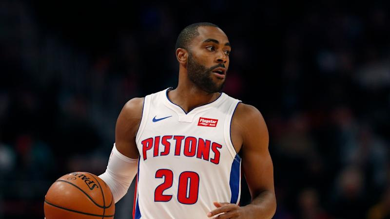 Detroit Pistons guard Wayne Ellington brings the ball up court during the first half of an NBA basketball game, Wednesday, March 6, 2019, in Detroit. (AP Photo/Carlos Osorio)