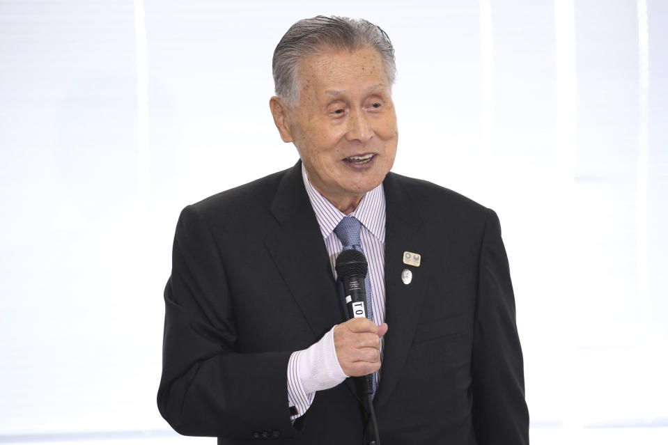 """Tokyo 2020 Organizing Committee President Yoshiro Mori speaks during the first meeting of the """"Tokyo 2020 New Launch Task Force"""" in Tokyo, Thursday, March 26, 2020, two days after the unprecedented postponement was announced due to the spreading coronavirus. (AP Photo/Koji Sasahara)"""