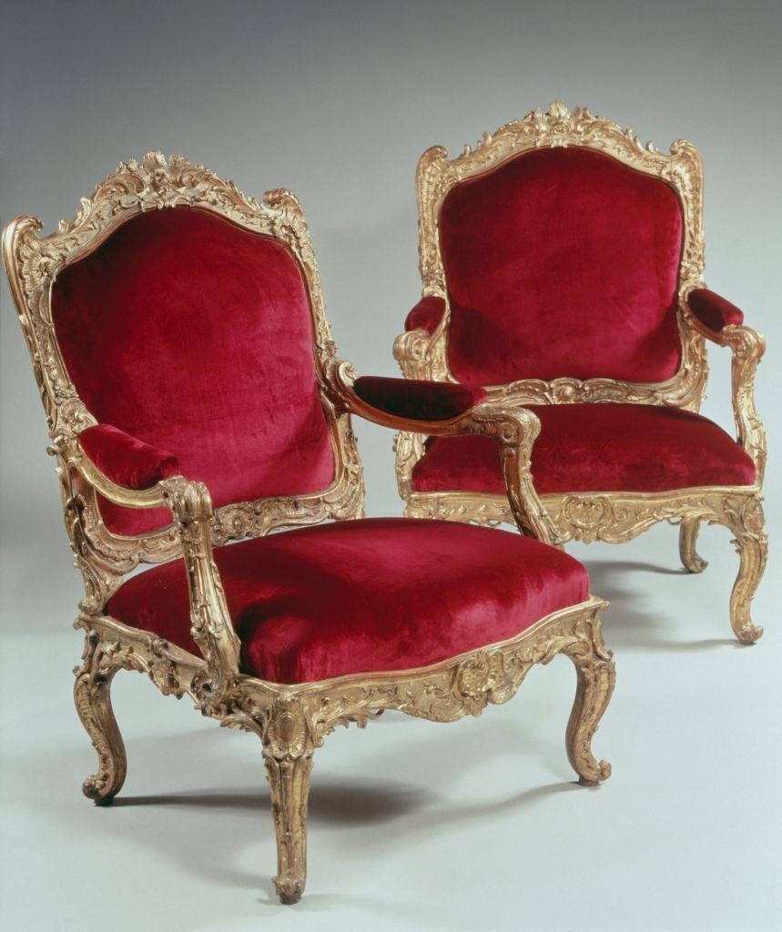 <p>By the reign of Louis XV (1715 - 1774), chairs had evolved to take on more curvaceous shapes, with slanted backs and bowed, cabriole legs. Upholstery on these chairs often emphasizes their shape, with curve-shaped edges and oval tufts on the armrests. </p>