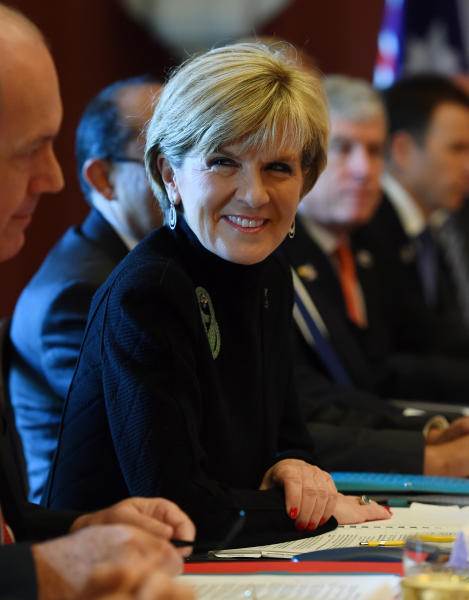 Australian Foreign Minister Julie Bishop during the start of AUSMIN talks at Admiralty House in Sydney on August 12, 2014 (AFP Photo/Dan Himbrechts)