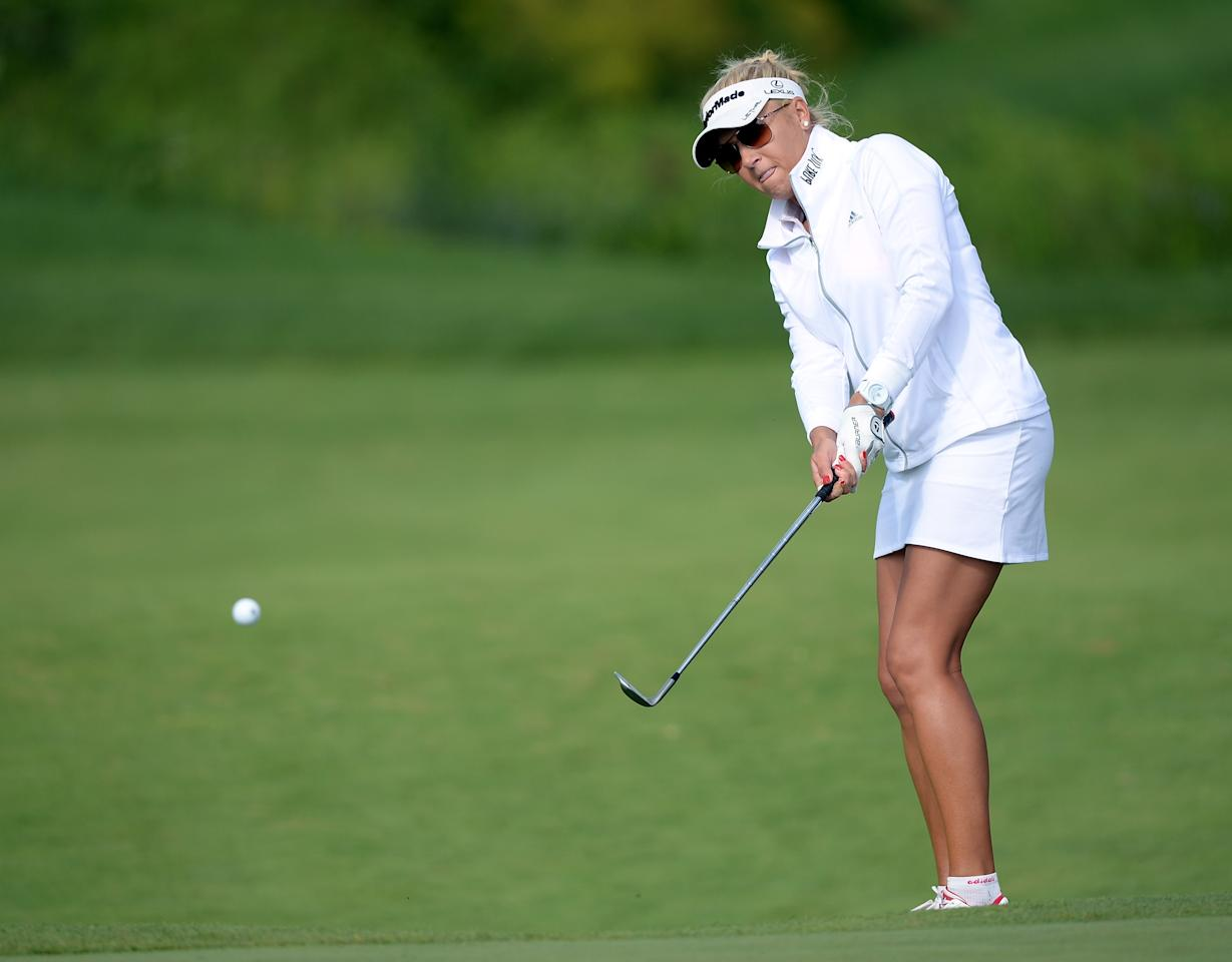 WATERLOO, CANADA - JULY 11: Natalie Gulbis chips to the third green during round one of the Manulife Financial LPGA Classic at the Grey Silo Golf Course on July 11, 2013 in Waterloo, Canada. (Photo by Harry How/Getty Images)