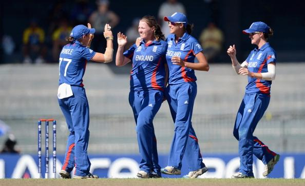 COLOMBO, SRI LANKA - OCTOBER 04:  Anya Shrubsole of England celebrates with teammates after dismissing Frances Mackay of New Zealand during the ICC Women's World Twenty20 2012 Semi Final between England and New Zealand at R. Premadasa Stadium on October 4, 2012 in Colombo, Sri Lanka.  (Photo by Gareth Copley/Getty Images)