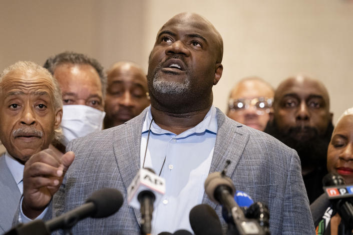 Rodney Floyd, brother of George Floyd, speaks of his brother during a news conference after former Minneapolis police Officer Derek Chauvin is convicted in the killing of George Floyd, Tuesday, April 20, 2021, in Minneapolis. (AP Photo/John Minchillo)