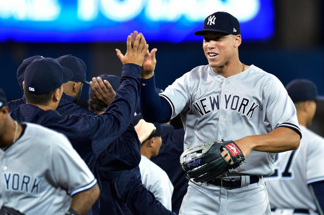 At 6-foot-7, Yankees outfielder Aaron Judge will tie Walt Bond as the tallest center fielder in MLB history. (AP)