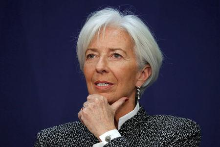 """Christine Lagarde, Managing Director of the International Monetary Fund (IMF), attends a conference on """"Transforming France's Economy and Completing the Integration of the Eurozone"""" in Paris"""