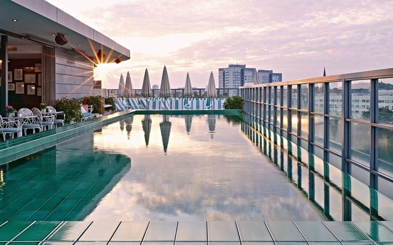 Soho house Berlin is ideal for a wellness break with its cosy Cowshed spa and rooftop pool