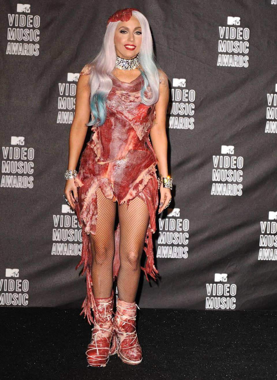 """<p>Lady Gaga has always been known for her outlandish style choices. But there was one dress that was especially controversial: The meat dress she wore to the 2010 MTV Video Music Awards. In an <a href=""""http://www.mtv.com/news/2579536/lady-gaga-meat-dress-peta/"""" rel=""""nofollow noopener"""" target=""""_blank"""" data-ylk=""""slk:interview"""" class=""""link rapid-noclick-resp"""">interview</a>, Lady Gaga explained, """"It has many interpretations, but for me this evening ... If we don't stand up for what we believe in and if we don't fight for our rights, pretty soon we're going to have as much rights as the meat on our own bones. And I am not a piece of meat."""" </p>"""