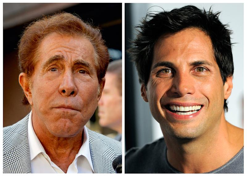 """This photo combination of file photos shows casino mogul Steve Wynn, left, in Los Angeles, and """"Girls Gone Wild"""" founder Joe Francis, in Los Angeles. A jury says Francis slandered Wynn when he claimed the casino mogul threatened to kill him and bury him in the desert. The Los Angeles jury on Monday, Sept. 10, 2012, awarded Wynn $20 million. (AP Photo/Nick Ut, Chris Pizzello)"""