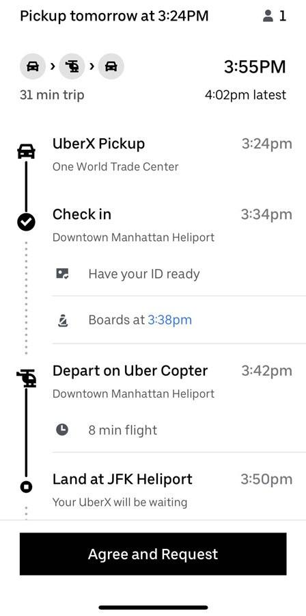 An example of what your screen looks like while booking an Uber Copter.