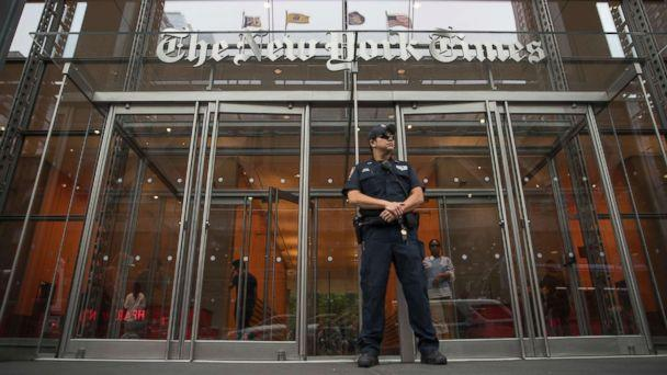 PHOTO: A police officer stands guard outside The New York Times building, June 28, 2018, in New York. (Mary Altaffer/AP)