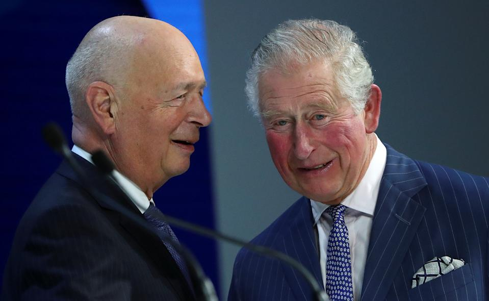 Britain's Prince Charles speaks with Klaus Schwab, Founder and Executive Chairman of World Economic Forum, before his special address at the 50th World Economic Forum (WEF) annual meeting in Davos, Switzerland, January 22, 2020. REUTERS/Denis Balibouse