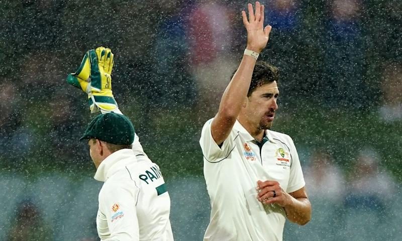 Mitchell Starc of Australia celebrates after dismissing Azhar Ali of Pakistan as it begins to rain during day three of the second Test Match between Australia and Pakistan at Adelaide Oval in Adelaide, Sunday, December 1, 2019.