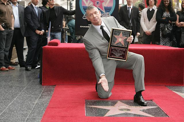 HOLLYWOOD - MARCH 14: WWE Chairman Vince McMahon attends a ceremony honoring him with a star on the Hollywood Walk of Fame at Hollywood and Highland on March 14, 2008 in Hollywood, California (Photo by Neilson Barnard/Getty Images)