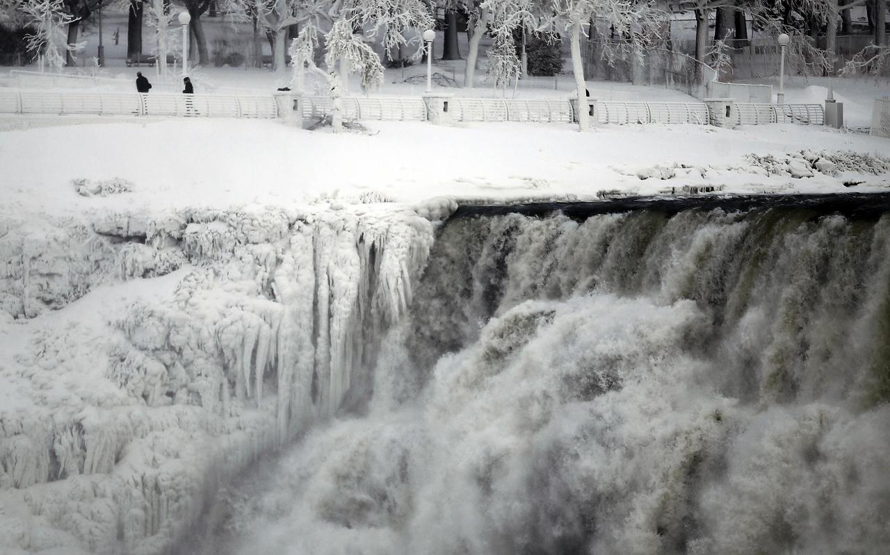 "The U.S. side of the Niagara Falls is pictured in Ontario, January 8, 2014. The frigid air and ""polar vortex"" that affected about 240 million people in the United States and southern Canada will depart during the second half of this week, and a far-reaching January thaw will begin, according to AccuWeather.com. REUTERS/Aaron Harris (CANADA - Tags: ENVIRONMENT TRAVEL)"