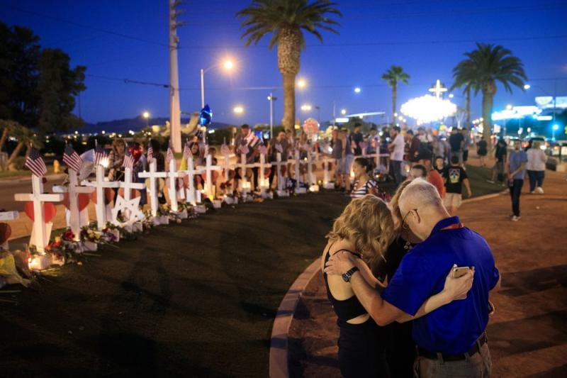 Makeshift memorial pays tribute to the Las Vegas shooting victims in October 2017.