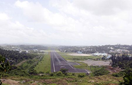 FILE PHOTO: A general view of the runway controlled by the Indian military is pictured at Port Blair airport in Andaman and Nicobar Islands