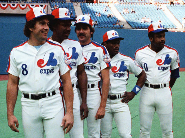 FILE - In this July 13, 1982, file photo, Montreal Expos players, from left, Gary Carter, Andre Dawson, Steve Rogers, Tim Raines and Al Oliver pose before the All-Star baseball game in Montreal. Now known as the Washington Nationals, the team is set to play in the franchise's first World Series. (The Canadian Press via AP, File)