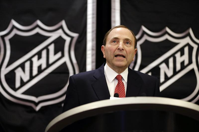 NHL commissioner Gary Bettman speaks during a news conference, Wednesday, Jan. 9, 2013, in New York. NHL owners ratified the tentative labor deal on Wednesday. All that now remains is player approval to finally start the hockey season. (AP Photo/Frank Franklin II)