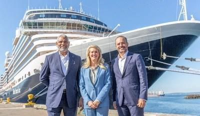 From left to right: Arnold Donald, President & CEO, Carnival Corporation & plc, Jan Swartz, Princess Cruises President, and Gus Antorcha, President of Holland America Line in front of Nieuw Amsterdam in the Port of Seattle