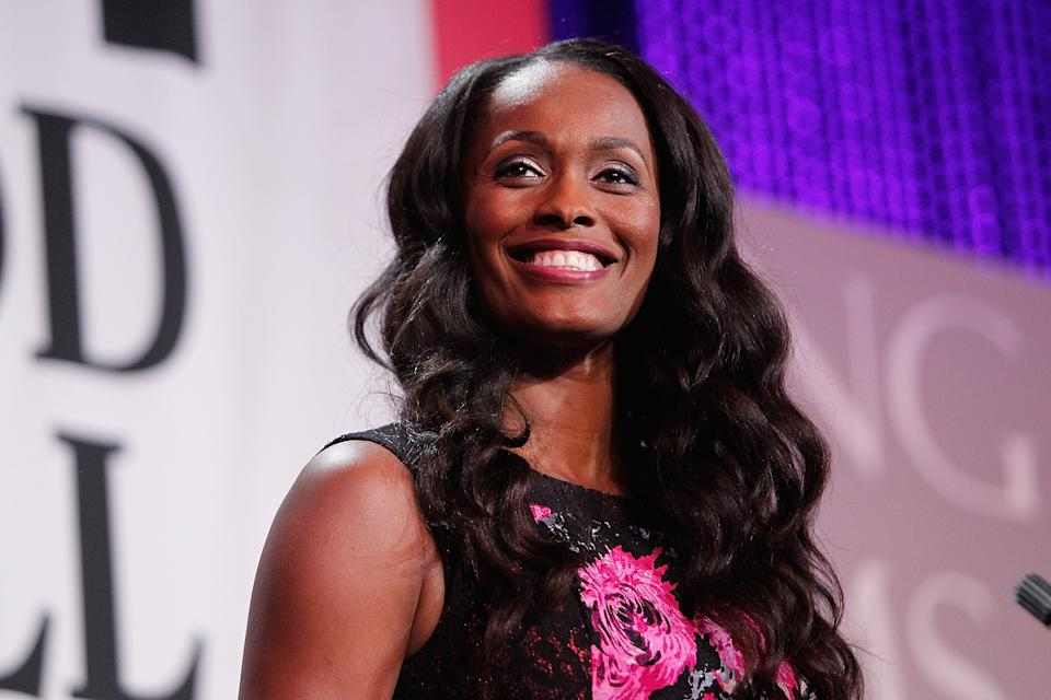 WNBA player Swin Cash speaks on stage at the Thurgood Marshall College Fund 27th Annual Awards Gala at the Washington Hilton on November 16, 2015 in Washington, DC.