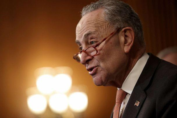 PHOTO: Senate Minority Leader Chuck Schumer speaks at a press conference with members of the House and the Senate marking the one year anniversary of the House passing HR-1, the For The People Act in Washington, March 10, 2020.  (Win Mcnamee/Getty Images)