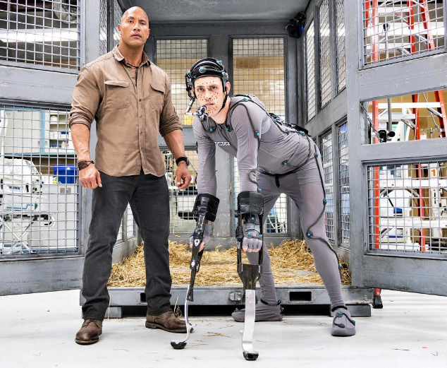 Dwayne Johnson with Jason Liles, who will do motion capture work for gorilla character in 'Rampage'