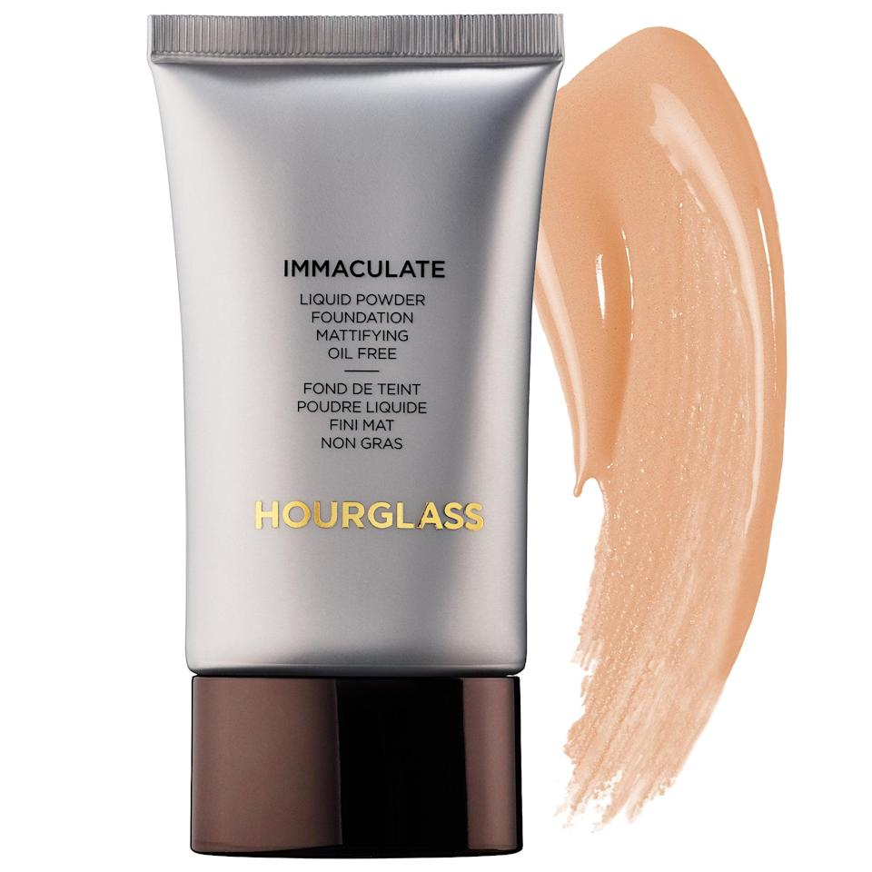 """<p>""""When dealing with acne-prone skin, you need to find something that covers both color and texture and has ingredients that won't exacerbate acne or make it worse. The <a href=""""https://www.popsugar.com/buy/Hourglass-Immaculate-Liquid-Powder-Foundation-Mattifying-Oil-Free-585114?p_name=Hourglass%20Immaculate%20Liquid%20Powder%20Foundation%20Mattifying%20Oil%20Free&retailer=sephora.com&pid=585114&price=56&evar1=bella%3Aus&evar9=43881299&evar98=https%3A%2F%2Fwww.popsugar.com%2Fbeauty%2Fphoto-gallery%2F43881299%2Fimage%2F47576643%2FHourglass-Immaculate-Liquid-Powder-Foundation-Mattifying-Oil-Free&list1=makeup%2Cbeauty%20products%2Cacne%2Cbeauty%20shopping%2Cbeauty%20tips%2Cbeauty%20interview%2Cbeauty%20news%2Cskin%20care&prop13=mobile&pdata=1"""" class=""""link rapid-noclick-resp"""" rel=""""nofollow noopener"""" target=""""_blank"""" data-ylk=""""slk:Hourglass Immaculate Liquid Powder Foundation Mattifying Oil Free"""">Hourglass Immaculate Liquid Powder Foundation Mattifying Oil Free</a> ($56) has a liquid-to-powder formula that my oily skin fell in love with. It's full-coverage, oil-free, contains Kaolinite clay to control blemishes and shine, and smooths over acne and scars like an Instagram filter!"""" – <a href=""""https://www.youtube.com/user/DiamondsAndHeels14"""" class=""""link rapid-noclick-resp"""" rel=""""nofollow noopener"""" target=""""_blank"""" data-ylk=""""slk:Cassandra Bankson, beauty vlogger"""">Cassandra Bankson, beauty vlogger</a></p>"""