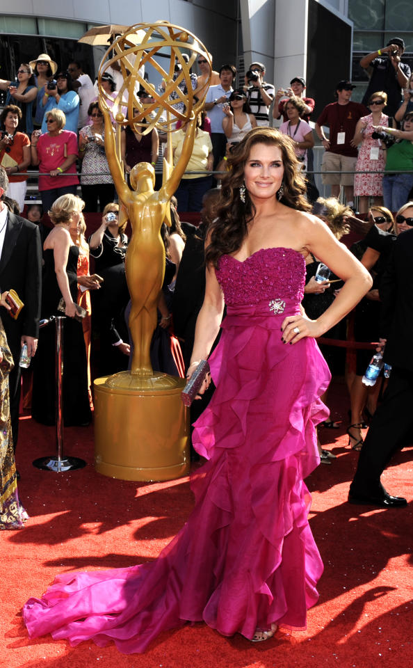 Actress Brook Shields arrives at the 60th Primetime Emmy Awards in Los Angeles, Sunday, Sept. 21, 2008. (AP Photo/Chris Pizzello)