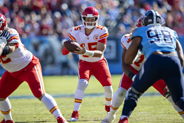 """NASHVILLE, TN - NOVEMBER 10: <a class=""""link rapid-noclick-resp"""" href=""""/nfl/players/30123/"""" data-ylk=""""slk:Patrick Mahomes"""">Patrick Mahomes</a> #15 of the <a class=""""link rapid-noclick-resp"""" href=""""/nfl/teams/kansas-city/"""" data-ylk=""""slk:Kansas City Chiefs"""">Kansas City Chiefs</a> drops back to pass in the first half of a game against the <a class=""""link rapid-noclick-resp"""" href=""""/nfl/teams/tennessee/"""" data-ylk=""""slk:Tennessee Titans"""">Tennessee Titans</a> in the first half at Nissan Stadium on November 10, 2019 in Nashville, Tennessee. (Photo by Wesley Hitt/Getty Images)"""