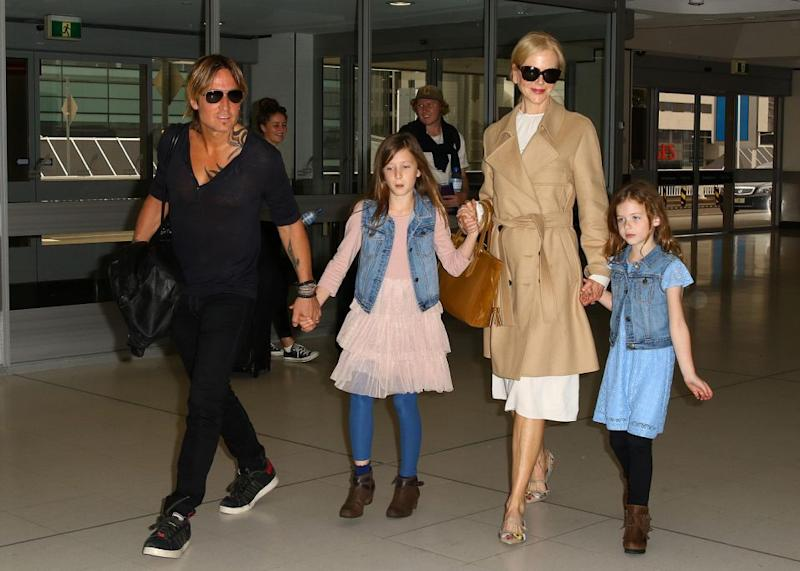 The family, pictured arriving into Sydney a few years ago, live together in Nashville. Source: Getty
