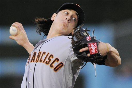 San Francisco Giants starting pitcher Tim Lincecum throws to the plate during the first inning of their baseball game against the Los Angeles Dodgers, Wednesday, May 9, 2012, in Los Angeles. (AP Photo/Mark J. Terrill)