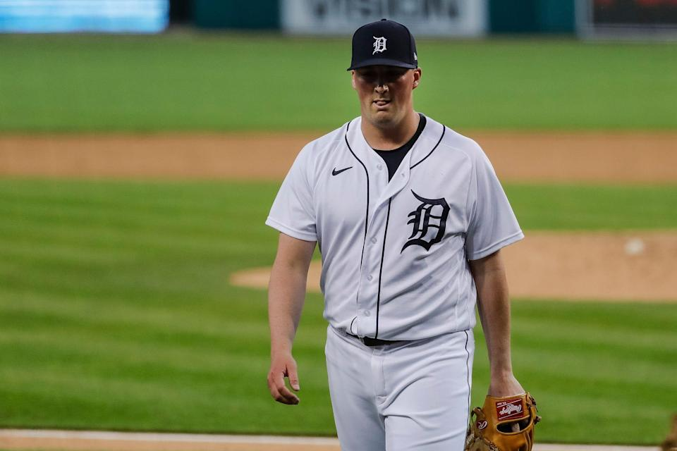Tigers pitcher Kyle Funkhouser walks off the field after pitching against Cleveland during the seventh inning at the Comerica Park on Tuesday, May 25, 2021.