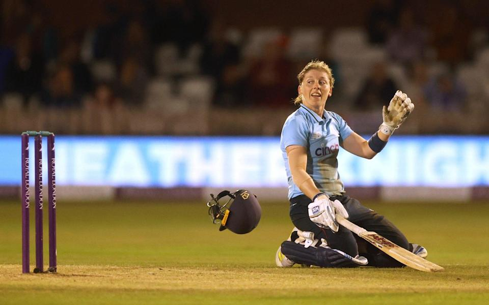 Cricket - Women - One Day International - England v New Zealand - County Cricket Ground, Derby, Britain - September 23, 2021 England's Heather Knight celebrates reaching her century - Action Images via Reuters