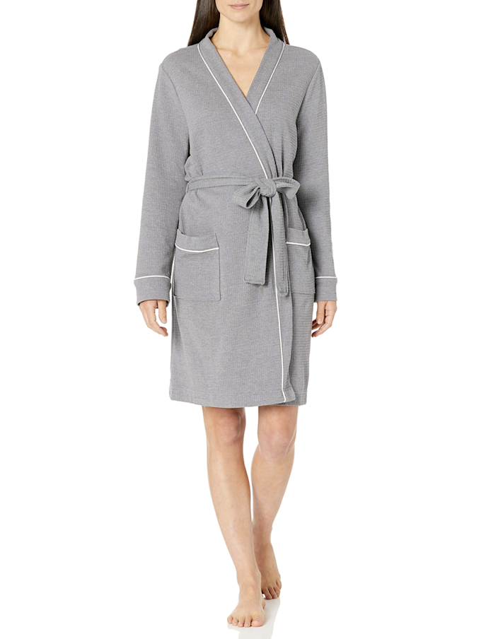 "Amazon Essentials has you covered with this waffle weave spa robe that could totally pass for a Nordstrom find. $22, Amazon. <a href=""https://www.amazon.com/Amazon-Essentials-Womens-Lightweight-Mid-Length/dp/B07Y2JP1V7/ref=sr_1_1_sspa"" rel=""nofollow noopener"" target=""_blank"" data-ylk=""slk:Get it now!"" class=""link rapid-noclick-resp"">Get it now!</a>"