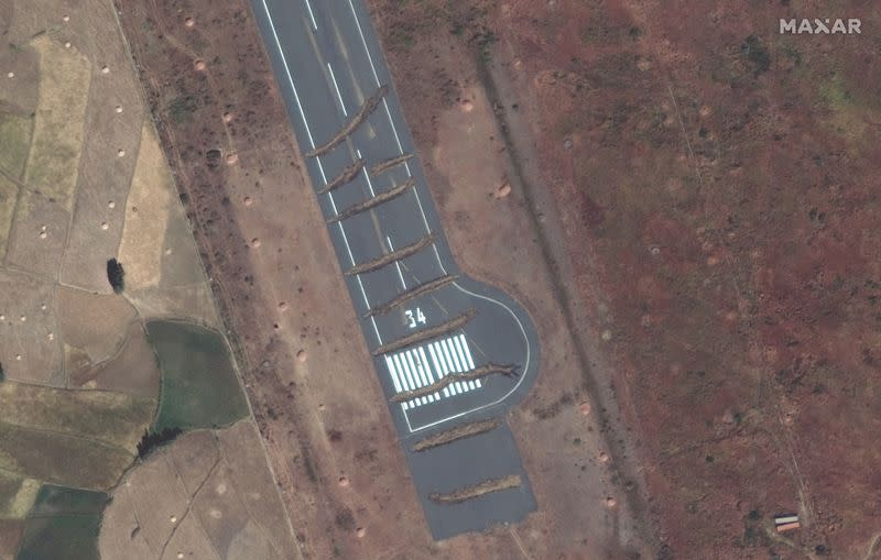 Trenches can be seen across the runway of Aksum Airport