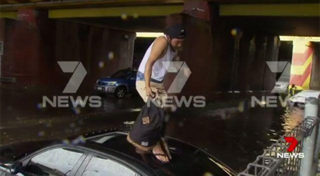 Motorists were urged not to drive through flood waters, as several people had been rescued from trapped vehicles. Pictures: 7 News