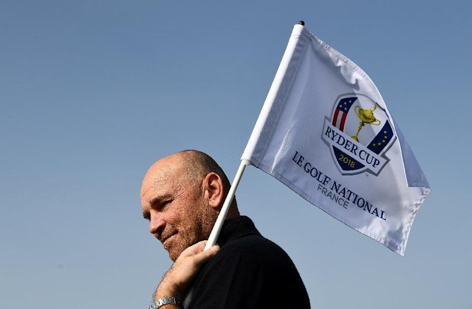 Europe's Ryder Cup captain Thomas Bjorn, seen during the 2018 Ryder Cup media day at the Golf National in Guyancourt, near Paris, the venue of the event, on October 16, 2017 (AFP Photo/FRANCK FIFE)