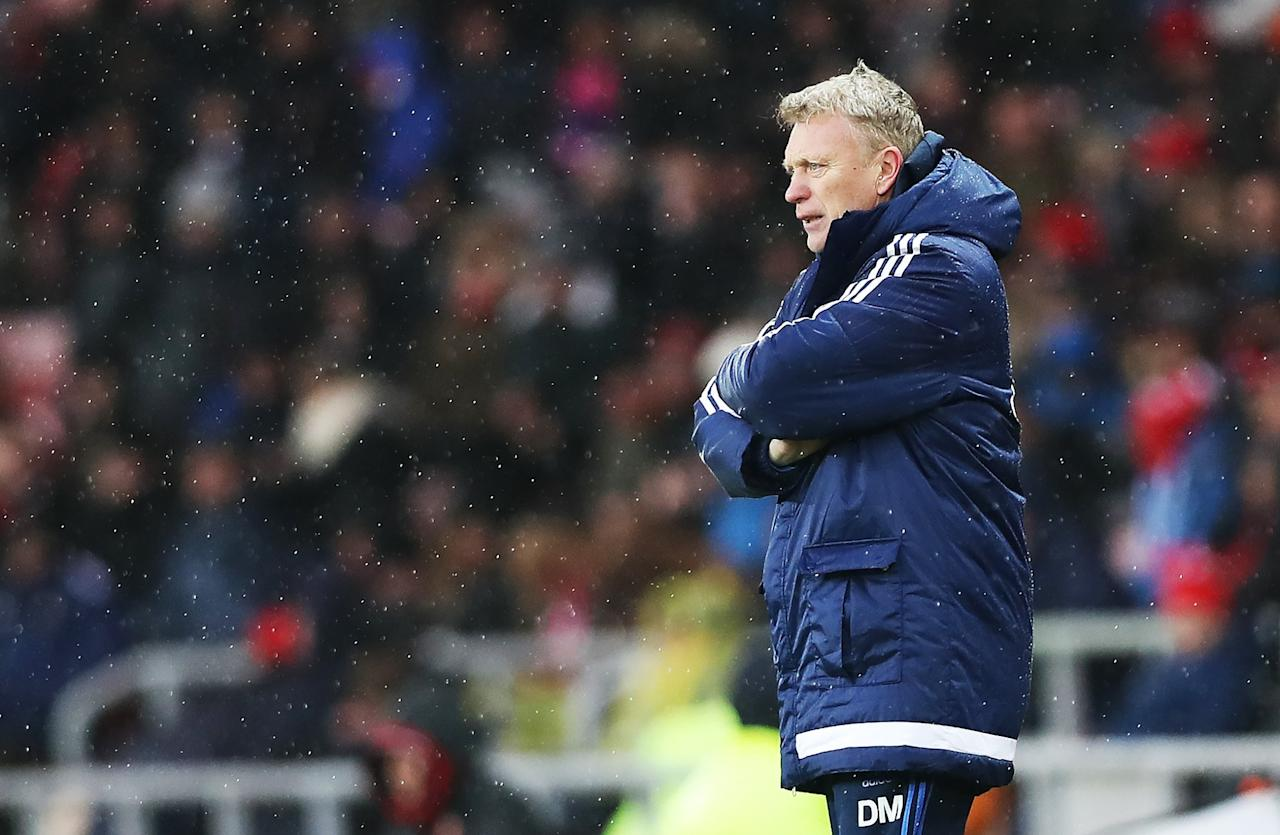 <p>It's a lonely job: David Moyes looks on during Sunderland's 4-0 home drubbing to Southampton </p>