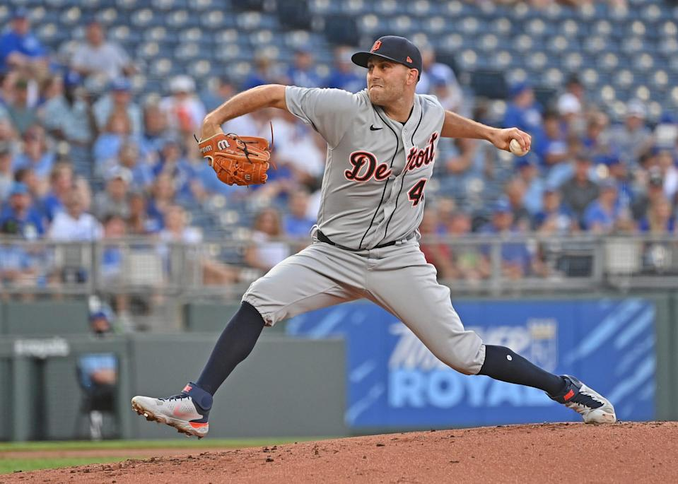 Detroit Tigers starting pitcher Matthew Boyd (48) delivers a pitch during the first inning against the Kansas City Royals at Kauffman Stadium in Kansas City, Missouri, on Monday, June 14, 2021.