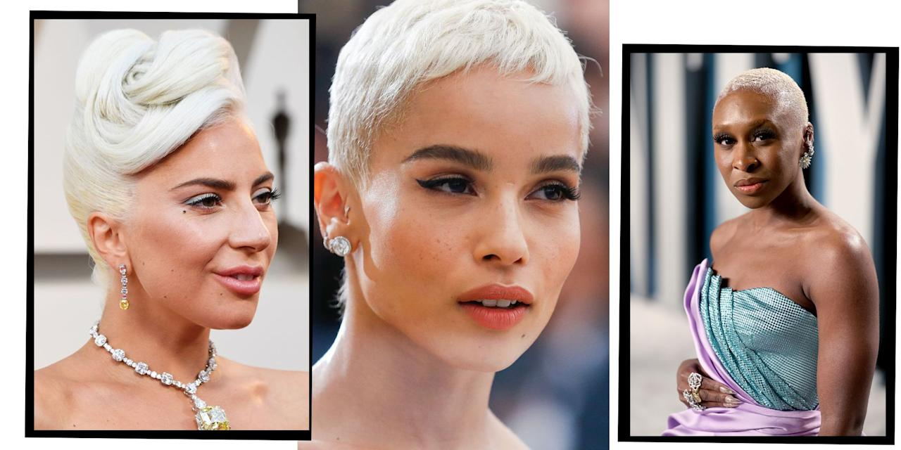 """<p>Bleached <a href=""""https://www.elle.com/uk/beauty/hair/a37024/blonde-hair-trends/"""" target=""""_blank"""">blonde hair</a> - we're all over it. From <a href=""""http://www.elleuk.com/now-trending/kim-kardashians-big-beauty-hang-up-hairy-forehead"""">Kim Kardashian</a>'s platinum blonde fashion week dye job which almost broke the internet, to Taylor Swift's shaggy white blonde <a href=""""https://www.elle.com/uk/beauty/hair/g17063/the-bob/"""" target=""""_blank"""">bob</a>, there's no end to the celebrity ice blonde hair colour ideas we're saving to our Pinterest board.</p><p>But what's the 2020 bleached blonde update? 'Tonal blondes. So, slightly off white like paper white or periwinkle,' says expert colourist and founder of Josh Wood Colour, <a href=""""https://joshwoodcolour.com/"""" target=""""_blank"""">Josh Wood</a>. 'I feel that total bleach outs that aren't toned look a little unfinished.  2020 for me is tones from Champagne blonde all the way through to Sand blondes for a warmer effect. It's a bit like looking at a paint shade chart with all the subtle soft whites.'</p><p>So who does bleached blonde hair suit? 'Everyone!', says Wood. <strong> '</strong>I really believe there is a blonde in everyone! Especially, as toning a blonde can really help with skin tone suitability generally. The more bold toned blondes work better on darker skin tones. It's important to keep it fresh and take out any brassy tones.'</p><p>Once you've reached your platinum hair goals, be ready for the upkeep. Extreme changes of colour call for a lot of TLC, so investing in a good <a href=""""https://www.elle.com/uk/beauty/hair/g11900/best-hair-masks-shiny-healthy-damaged-coloured/"""" target=""""_blank"""">hair mask </a>to nourish your scalp and hair once a week is essential.</p><p>Read on for all the bleached blonde hair colour inspiration you'll ever need...</p>"""