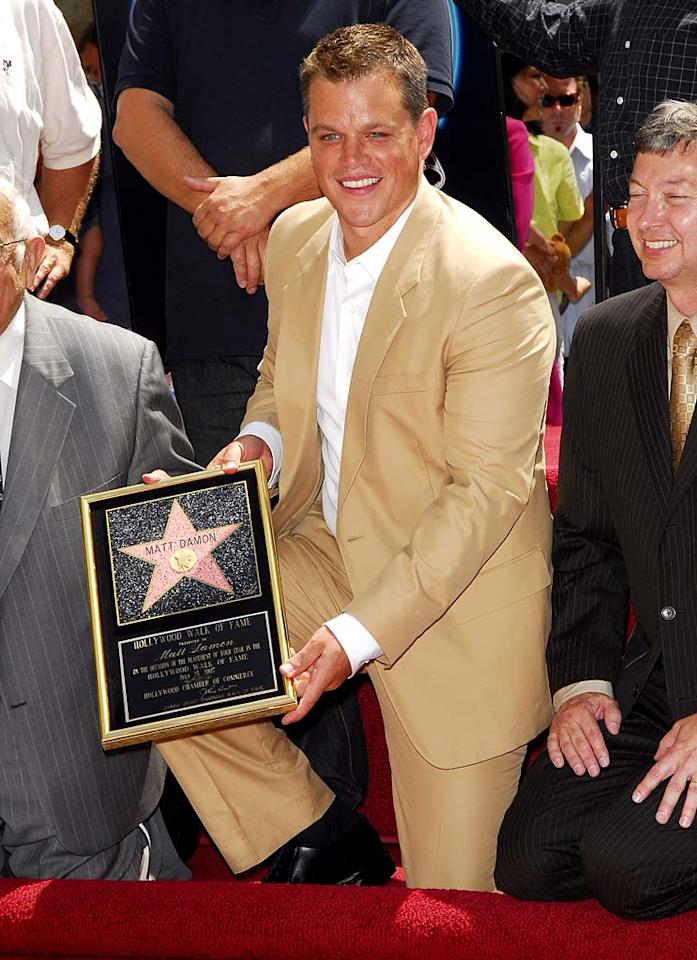 "A star is ""Bourne."" Actor Matt Damon was honored with his very own star on the Hollywood Walk of Fame Wednesday. Luis Martinez/<a href=""http://www.splashnewsonline.com/"" target=""new"">Splash News</a> - July 25, 2007"