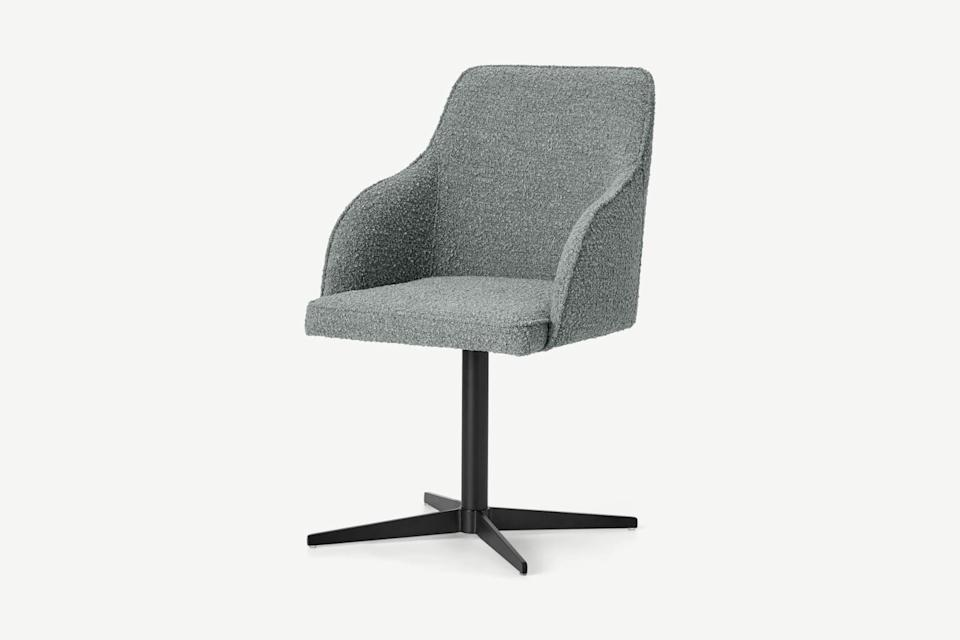 """Office chairs don't have to be the lumbering ergonomic ones we're used to. They can be padded and stylishly upholstered, too. Dare to dream!<br><br><br><strong>Made</strong> Keira Office Chair, Steel Boucle & Black, $, available at <a href=""""https://www.made.com/keira-office-chair-steel-boucle-black"""" rel=""""nofollow noopener"""" target=""""_blank"""" data-ylk=""""slk:Made"""" class=""""link rapid-noclick-resp"""">Made</a>"""