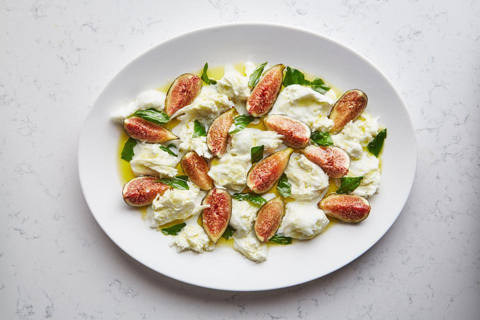 "It's not about the number of steps or ingredients in a dish. If you shop smart, buying peak-season produce and quality protein, you don't have to do much at all (like with this easy salad recipe). Read more about <a href=""http://www.bonappetit.com/story/fruit-caprese-salad-ideas?mbid=synd_yahoo_rss"" rel=""nofollow noopener"" target=""_blank"" data-ylk=""slk:fruit caprese salad ideas here."" class=""link rapid-noclick-resp"">fruit caprese salad ideas here.</a> <a href=""https://www.bonappetit.com/recipe/adam-rapoports-fig-caprese?mbid=synd_yahoo_rss"" rel=""nofollow noopener"" target=""_blank"" data-ylk=""slk:See recipe."" class=""link rapid-noclick-resp"">See recipe.</a>"