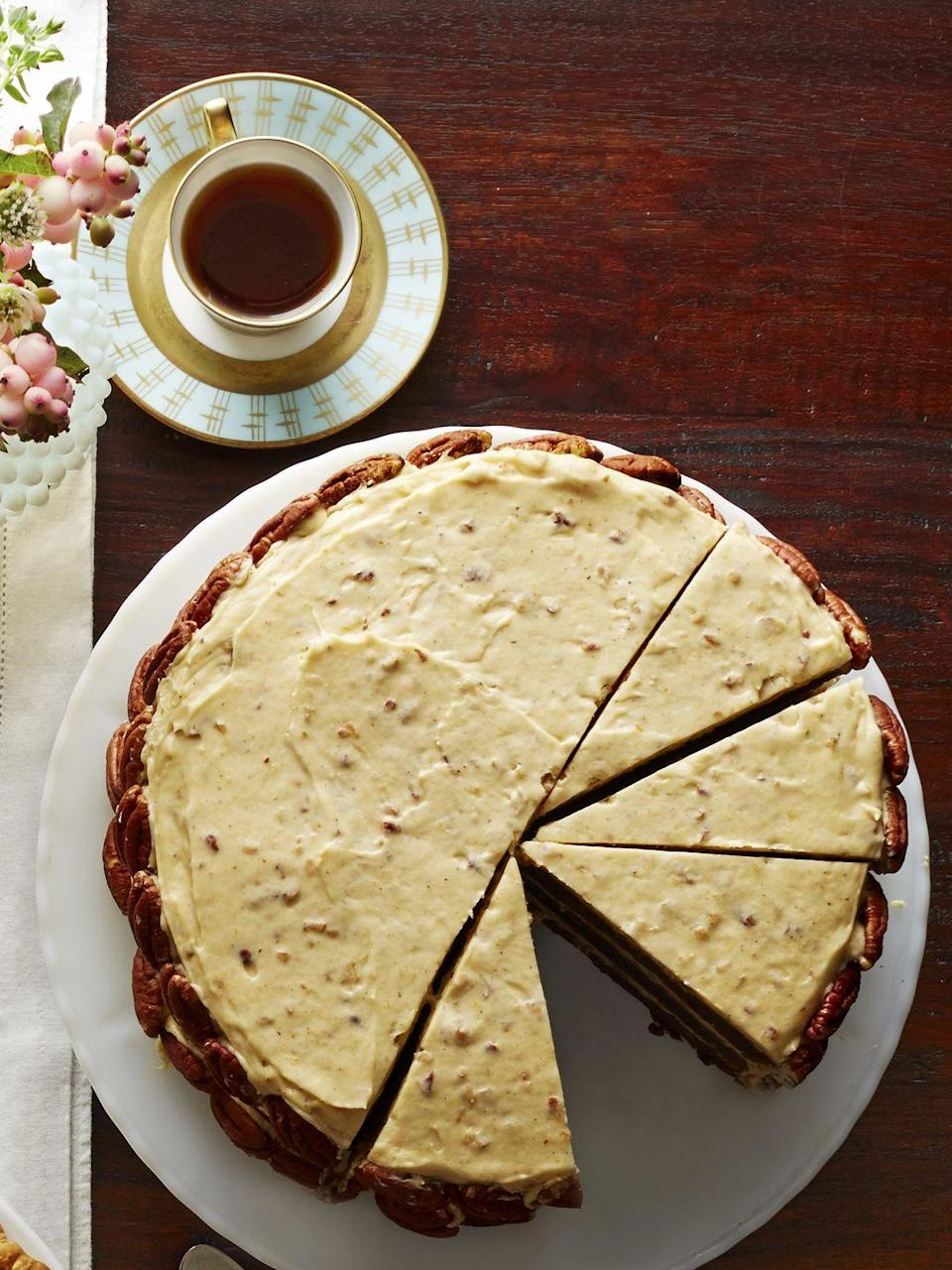 "<p>Don't be fooled by those gorgeous-but-intimidating layers. Partially freezing them makes this cake easy to fill and frost. Did we mention the pumpkin frosting?</p><p><a href=""https://www.goodhousekeeping.com/food-recipes/a16154/chocolate-brown-sugar-butter-cake-spiced-pumpkin-frosting-recipe-clx1114/"" rel=""nofollow noopener"" target=""_blank"" data-ylk=""slk:Get the recipe for Chocolate Brown Sugar Butter Cake with Pumpkin Frosting »"" class=""link rapid-noclick-resp""><em>Get the recipe for Chocolate Brown Sugar Butter Cake with Pumpkin Frosting »</em></a></p>"