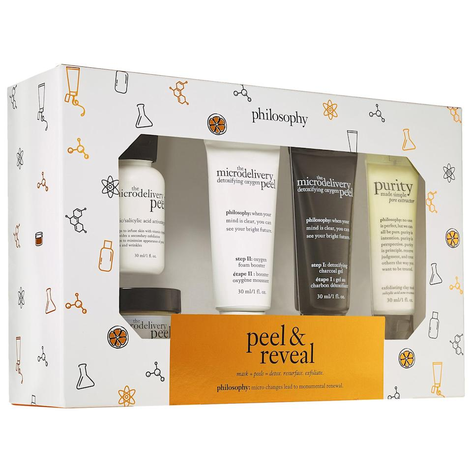 """<p>Get with the peel programs, and try a detoxifying duo or a resurfacing twosome on your next at-home spa day. That's all included in this <a href=""""https://www.popsugar.com/buy/Philosophy-Peel-Reveal-Kit-576163?p_name=Philosophy%20Peel%20and%20Reveal%20Kit&retailer=sephora.com&pid=576163&price=39&evar1=bella%3Aus&evar9=47494507&evar98=https%3A%2F%2Fwww.popsugar.com%2Fbeauty%2Fphoto-gallery%2F47494507%2Fimage%2F47494539%2FPhilosophy-Peel-Reveal-Kit&list1=sephora%2Cbeauty%20shopping%2Cbeauty%20sale&prop13=mobile&pdata=1"""" class=""""link rapid-noclick-resp"""" rel=""""nofollow noopener"""" target=""""_blank"""" data-ylk=""""slk:Philosophy Peel and Reveal Kit"""">Philosophy Peel and Reveal Kit</a> ($39, originally $55), along with a pore-extracting mask, too.</p>"""